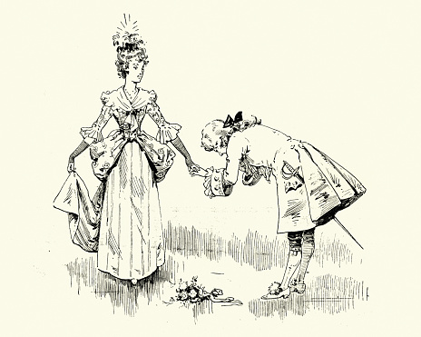 Prince bowing and kissing princess hand, Victorian fairy tale