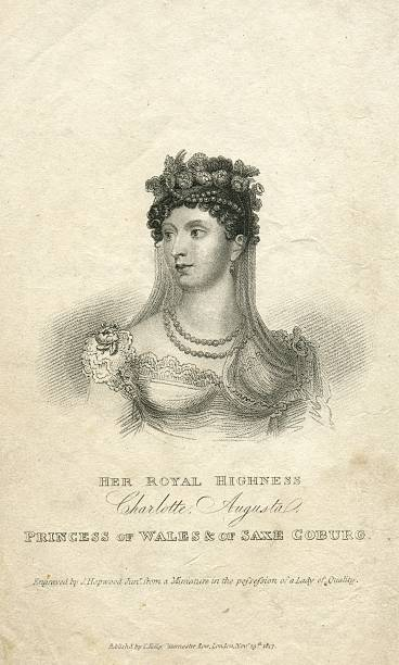 portrait engraving princess charlotte augusta of wales 19th century - whiteway engraving stock illustrations, clip art, cartoons, & icons