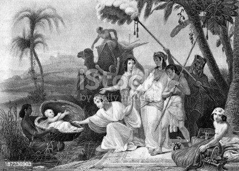 Engraving From 1873 Featuring Moses Being Found By The Princess After Being Set Out On The Nile River.