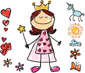 """girl dressed as a princess, drawn on child style, with items grouped separately for use in design, easy to change colors"""