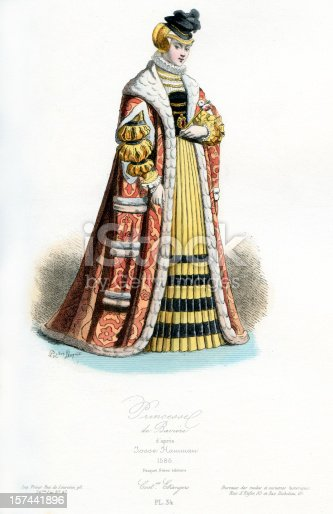 Vintage coloured engraving from 1875 showing the costume of a Princess of Bavaria in the late 16th century  [b]View More:[/b] [url=http://www.istockphoto.com/file_search.php?action=file&lightboxID=6058311][img]http://www.walker1890.co.uk/istock/istock-hc.jpg[/img][/url][url=http://www.istockphoto.com/file_search.php?action=file&lightboxID=2789749][img]http://www.walker1890.co.uk/istock/istock-engraving.jpg[/img][/url]