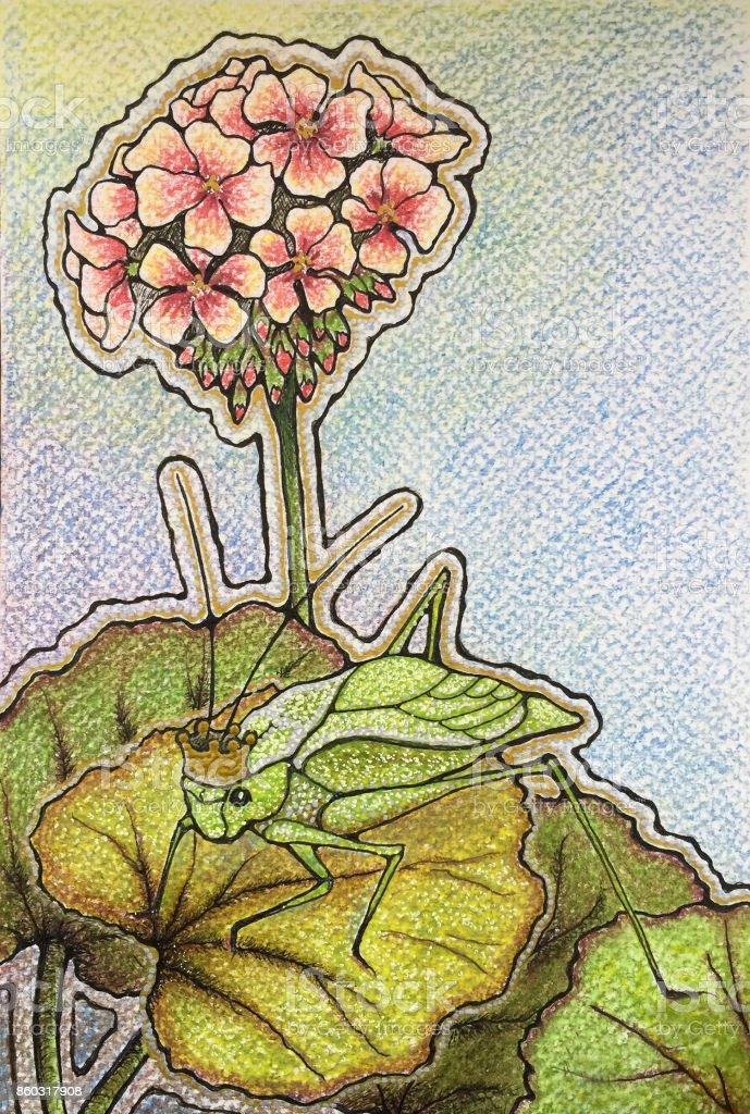 Princess Stephanie the katydid on a geranium vector art illustration