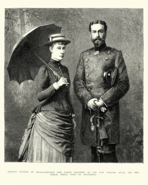 3538874f36ab8 Princess Victoria of Hesse-Darmstadt and Prince Louis of Battenberg vector  art illustration