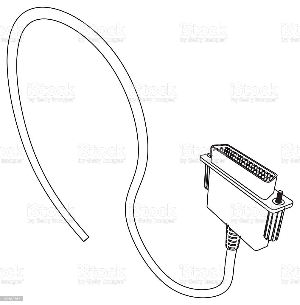 Printer Cable royalty-free stock vector art