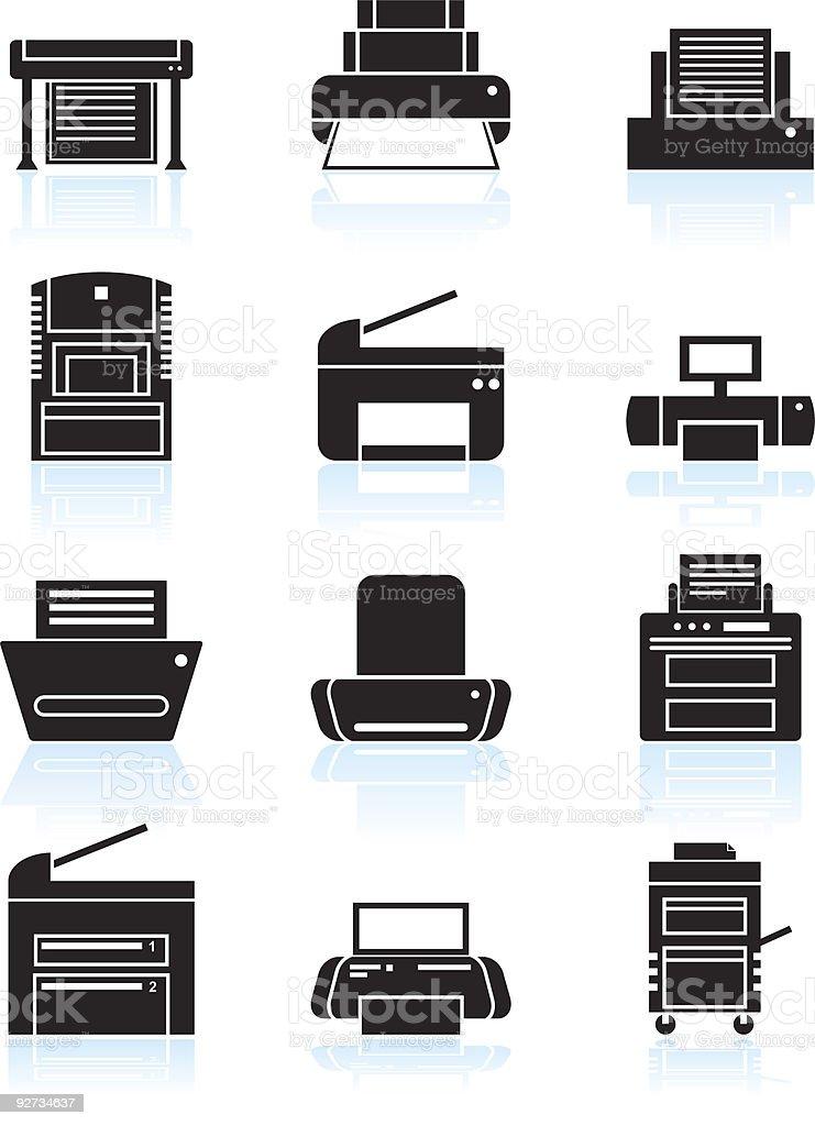 Printer Icons vector art illustration