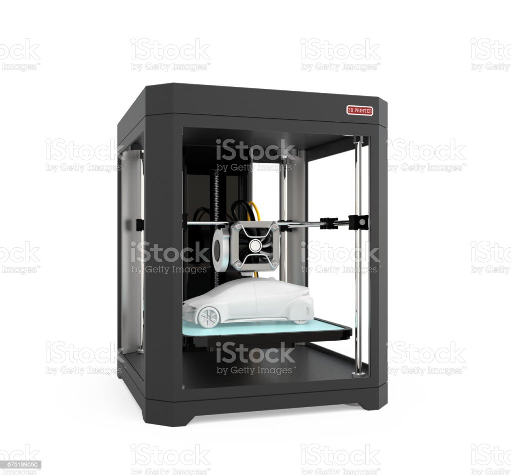 3d Printer With Car Model Isolated On White Background