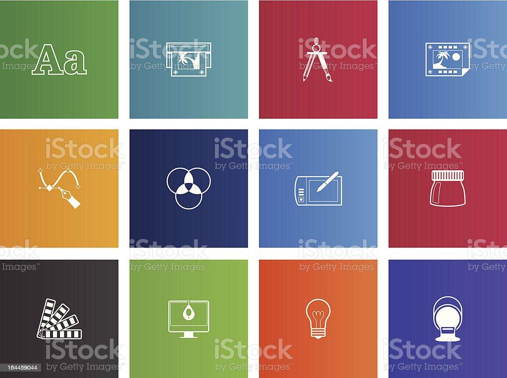 Impressão & Design gráficos ícones - ilustração de arte em vetor