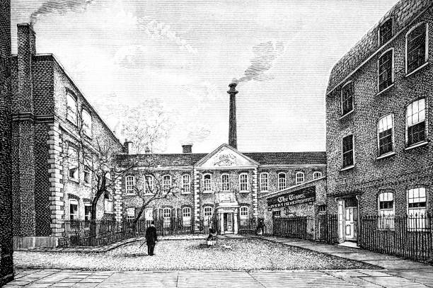 Printing House Square in 1874 - The Times office vector art illustration
