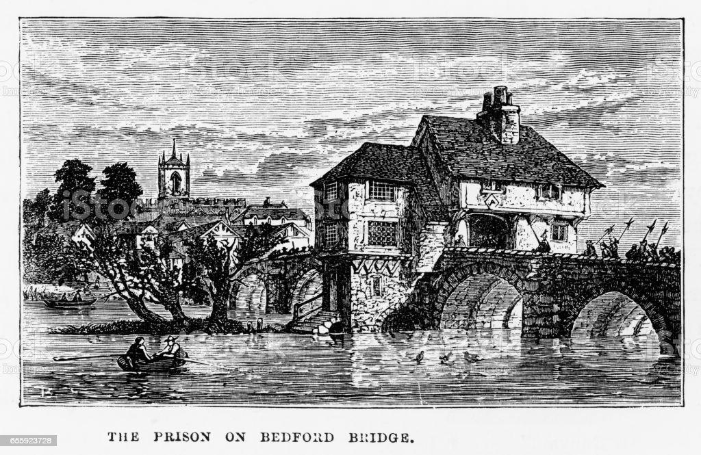 Prison on Bedford Bridge in Bedford, England Victorian Engraving, 1840 vector art illustration