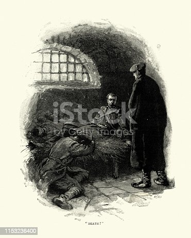 Vintage engraving of Prisoner of war helded in a prison cell, 19th Century.  The Coret-player by Pedro A De Alarcon
