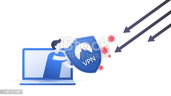 A scheme showing how to use a VPN service