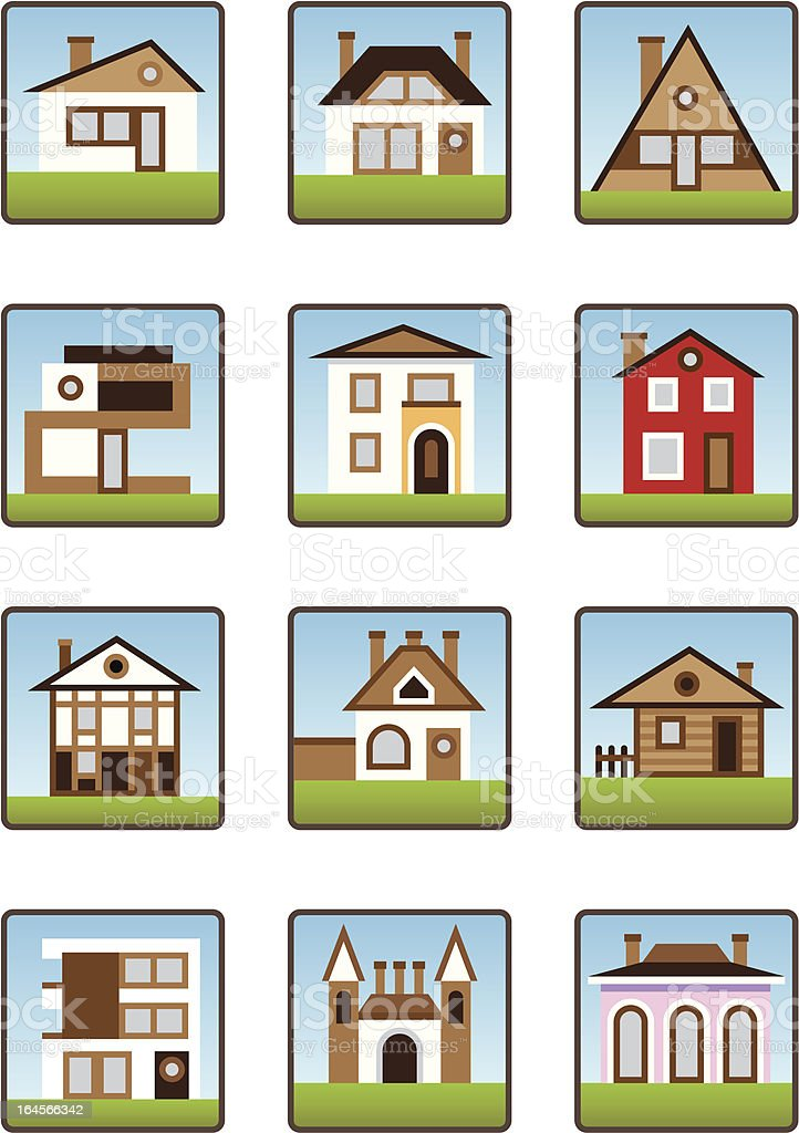 Private houses and homes icons set royalty-free stock vector art