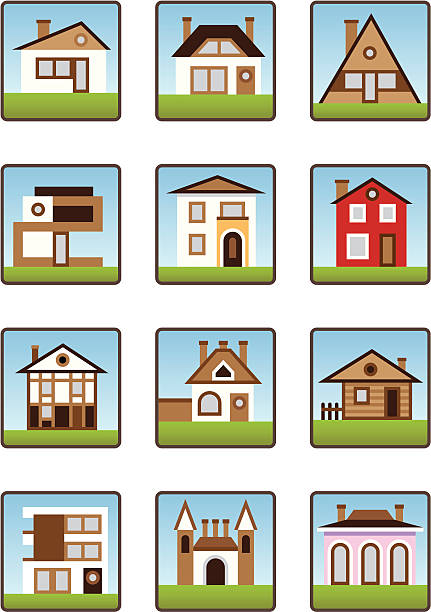 Private houses and homes icons set vector art illustration