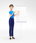 Product Flip-Chart Mockup and Blank Board with Smiling Jenny - 3D Cartoon Female Character in Casual Clothes