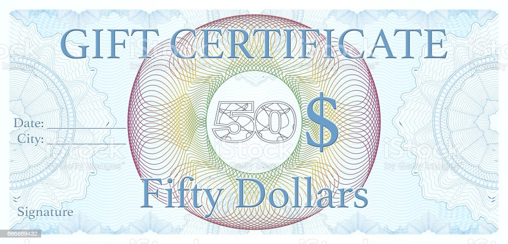 professional 50$ Gift certificate, designed as an official cheque vector art illustration