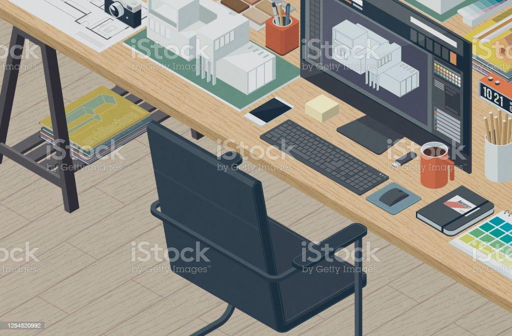 Professional Architect And Interior Designer Isometric Desktop3d Illustration Stock Illustration Download Image Now Istock