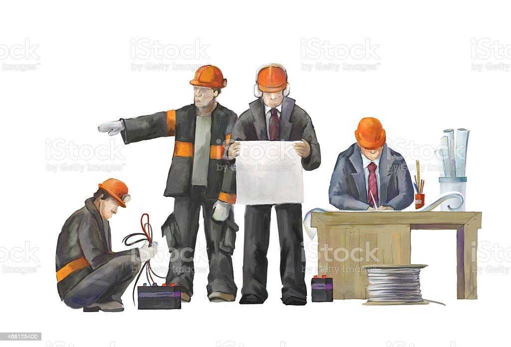 Professional builders team in constraction work vector art illustration