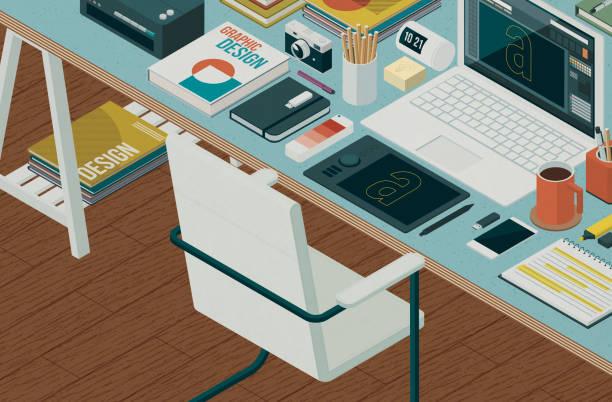 Professional graphic designer workspace vector art illustration