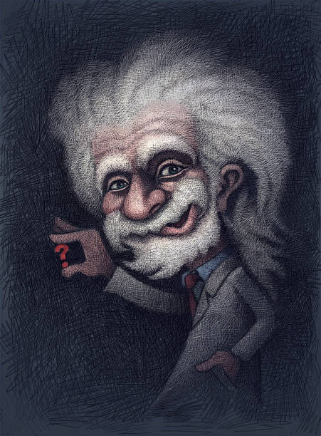 professor holding question mark - old man portrait drawing stock illustrations, clip art, cartoons, & icons