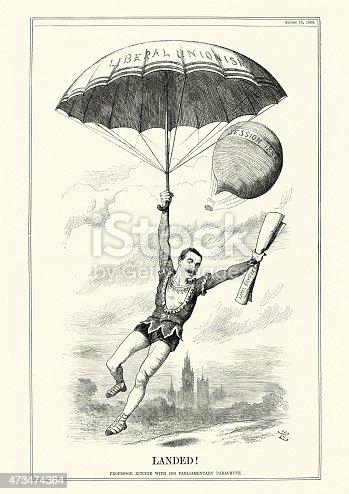 Political satire cartoon of Professor Ritchie with his Parliamentary Parachute. Charles Ritchie, 1st Baron Ritchie of Dundee was a Conservative MP for the Tower Hamlets. In 1885 he was made secretary to the Admiralty, and from 1886 to 1892 was President of the Local Government Board.  John Tenniel, Punch, 1888