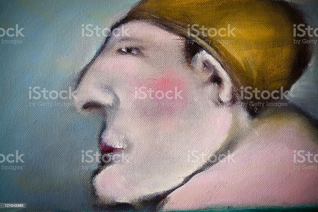 Profile of man with yellow swimming cap royalty-free stock vector art