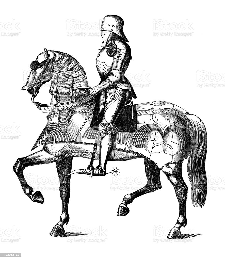 Profile Of Medieval Knight In Armor On Horse Stock Vector Art & More ...