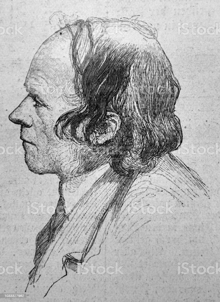 Profile portrait of an adult man with thin hair - 1895 vector art illustration