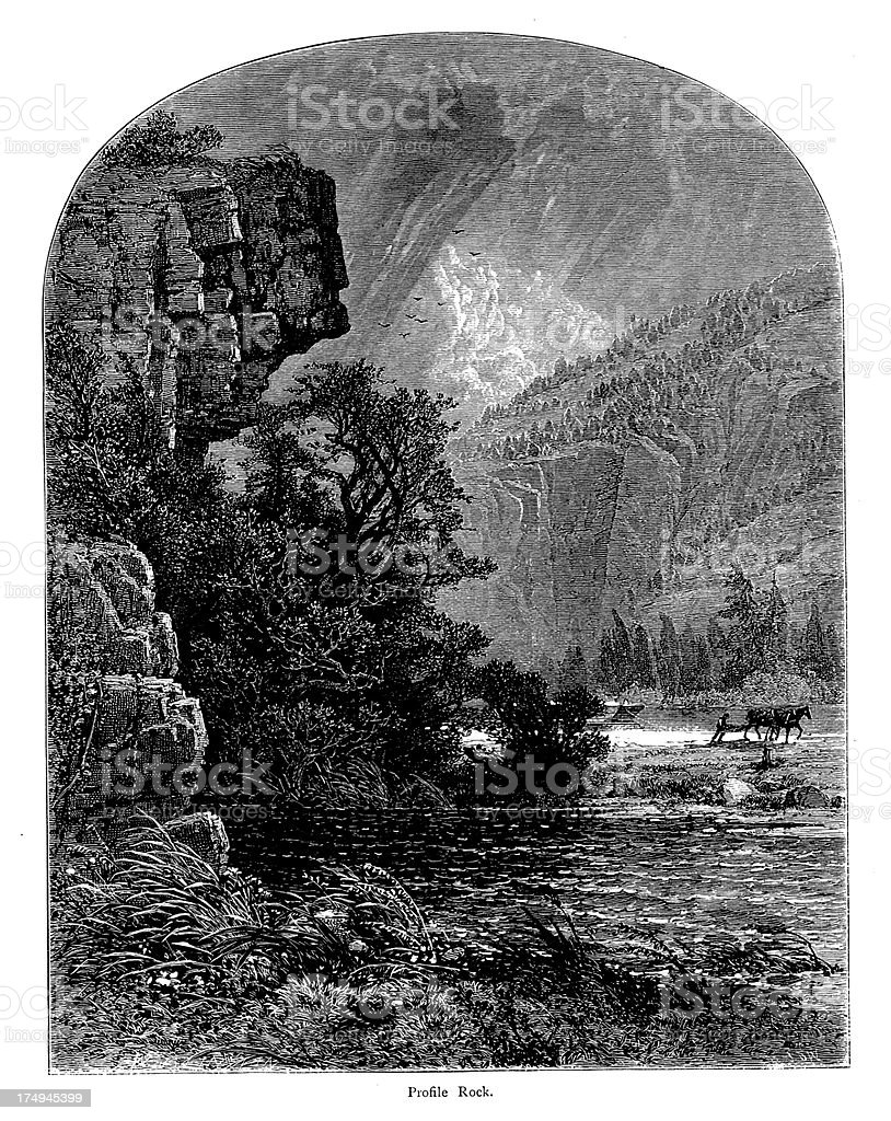 Profile Rock in the Mohawk Valley, New York royalty-free profile rock in the mohawk valley new york stock vector art & more images of 19th century