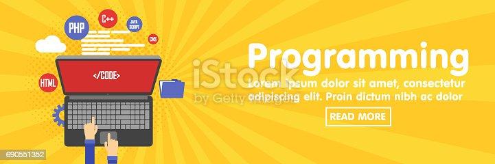 istock Programming and coding, website development banner template 690551352