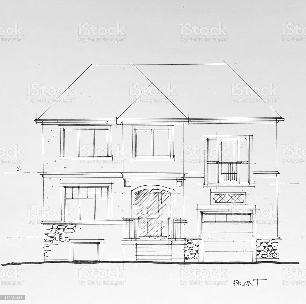 Project drawing of a brick houses exterior stock vector art more project drawing of a brick houses exterior royalty free project drawing of a brick houses malvernweather Gallery