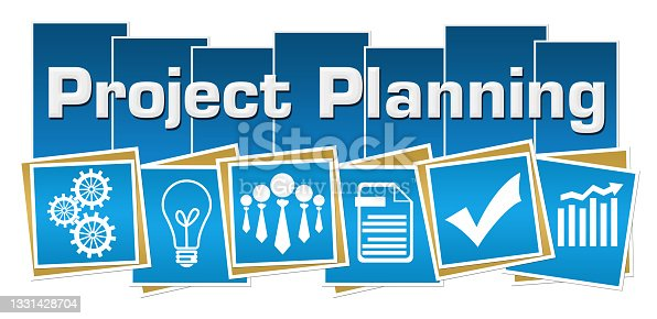 istock Project Planning Business Symbols Blue Squares Stripes 1331428704
