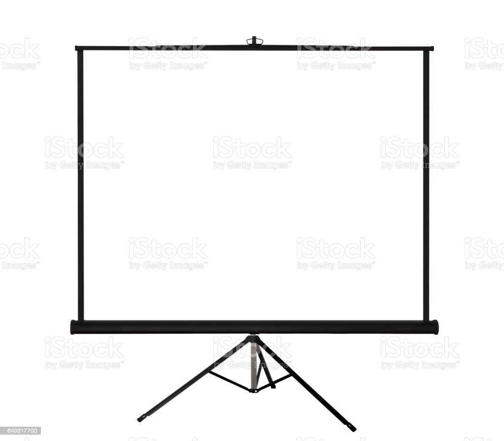 Projection screen on tripod on white background vector art illustration
