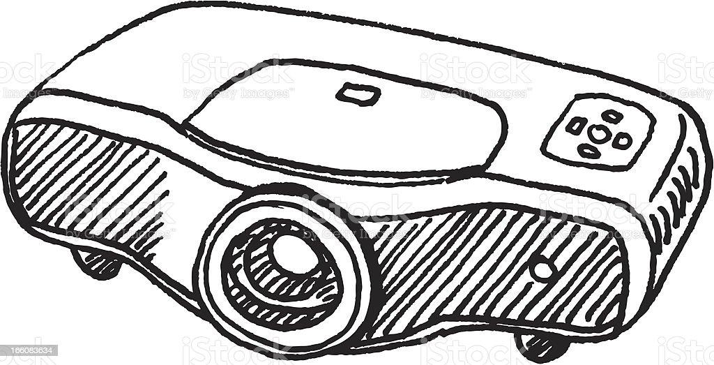 LCD Projector Sketch vector art illustration