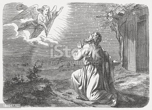 """The Lord took him outside and said, """"Gaze into the sky and count the stars – if you are able to count them!"""" Then he said to him, """"So will your descendants be."""" (Genesis, Chapter 15, 5). Woodcut engraving after a drawing by Julius Schnorr von Carolsfeld (German painter, 1794 - 1872), published in 1877."""
