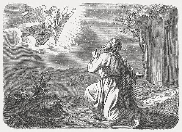 "Promise to Abram (Genesis 15, 5) The Lord took him outside and said, ""Gaze into the sky and count the stars – if you are able to count them!"" Then he said to him, ""So will your descendants be."" (Genesis, Chapter 15, 5). Woodcut engraving after a drawing by Julius Schnorr von Carolsfeld (German painter, 1794 - 1872), published in 1877. Abraham stock illustrations"
