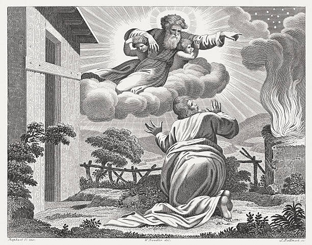"Promise to Abram (Genesis 15), steel engraving, published in 1841 The Lord took him outside and said, ""Gaze into the sky and count the stars – if you are able to count them!"" Then he said to him, ""So will your descendants be."" (Genesis 15, 5). Steel engraving after the frescoes by Raphael (Italian painter, 1483 - 1520) in the Loggia at the Vatican (Apostolic Palace), published in 1841. Abraham stock illustrations"