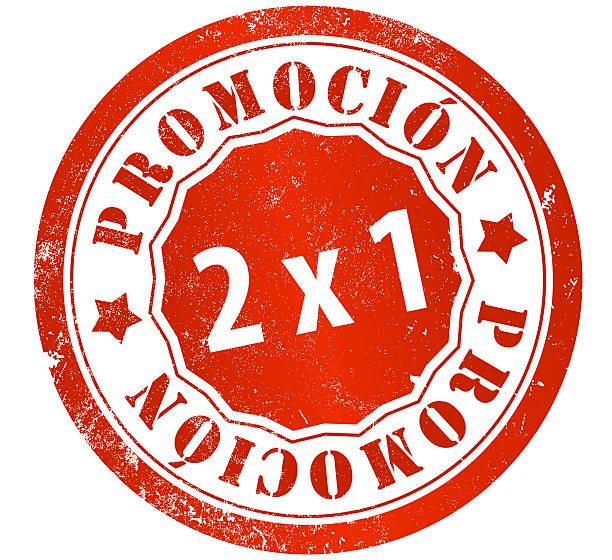 Sello de promoción 2 x 1 - ilustración de arte vectorial