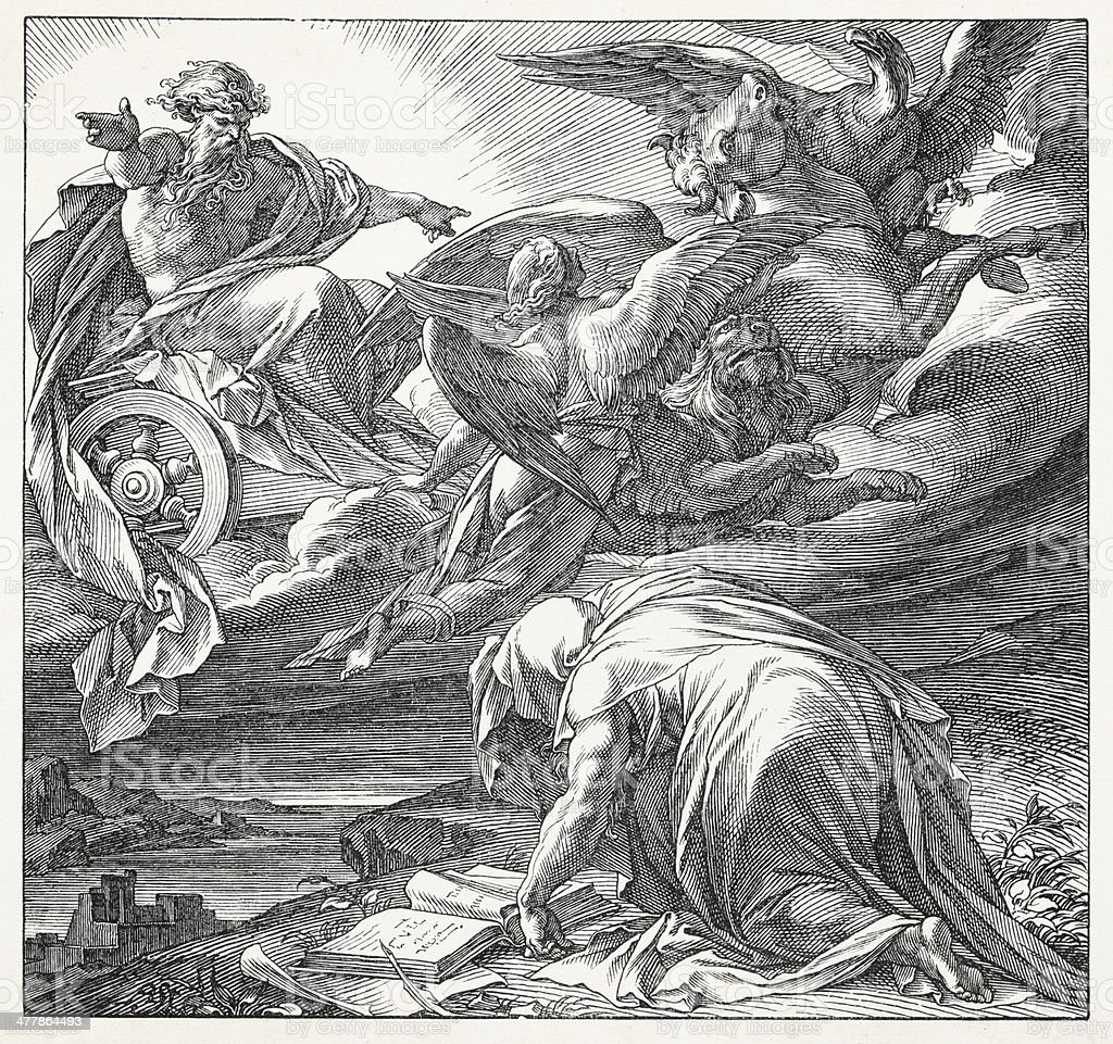 Prophet Ezekiel Vision of Four Cherubim vector art illustration