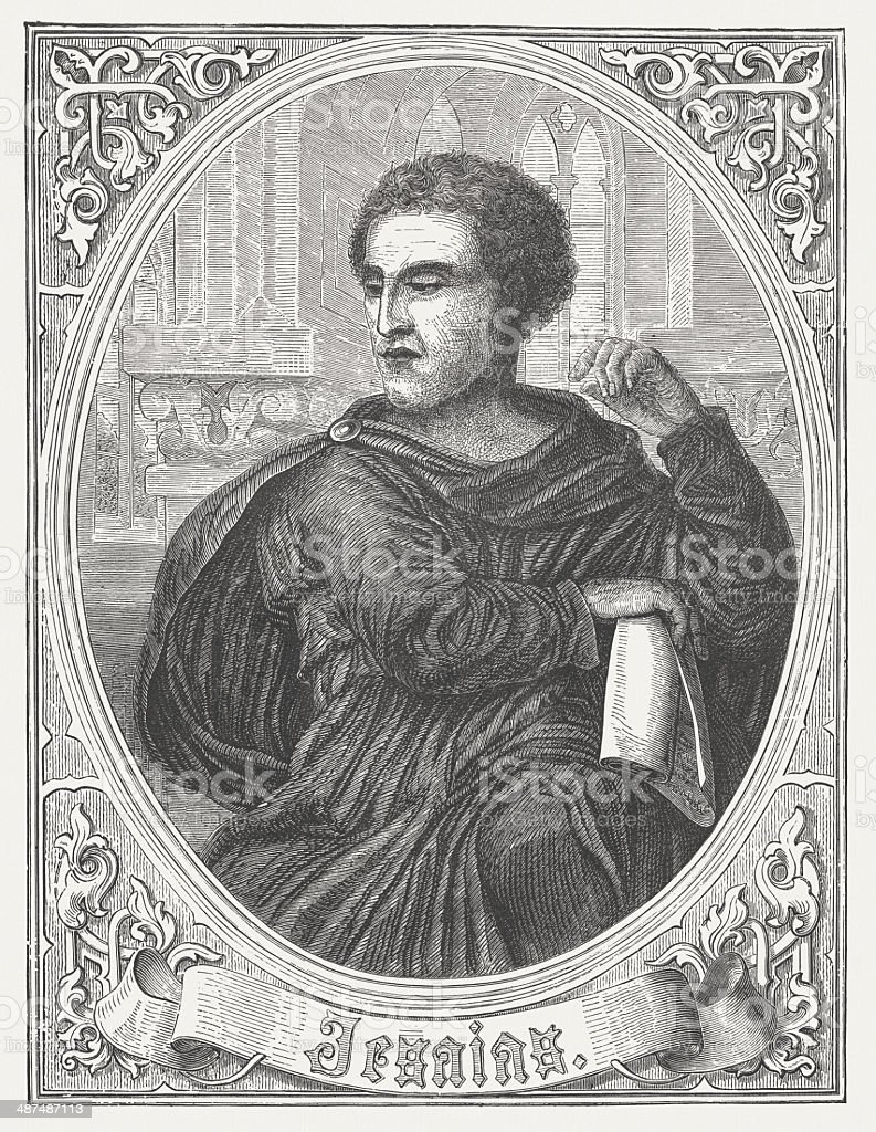 Prophet Isaiah, by Michelangelo Buonarroti, wood engraving, published in 1868 vector art illustration