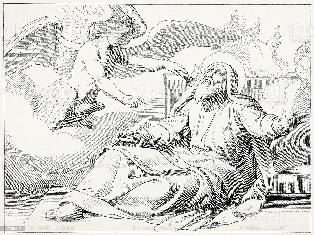 Prophet Isaiah writing with angel vector art illustration