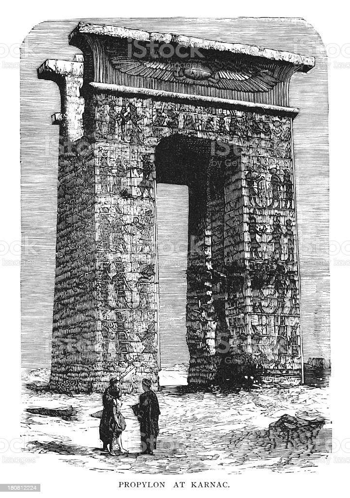 Propylon at Karnak, Egypt royalty-free propylon at karnak egypt stock vector art & more images of 1880-1889