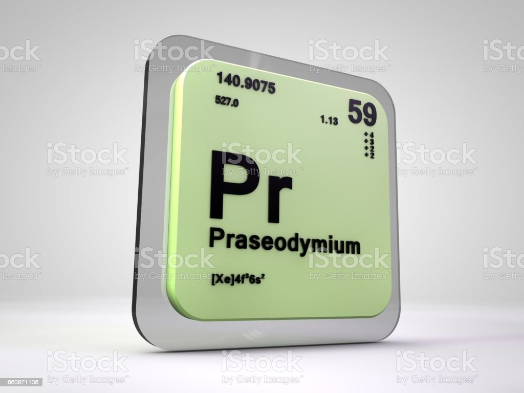 Proseodymium Pr Chemical Element Periodic Table 3d Render Stock