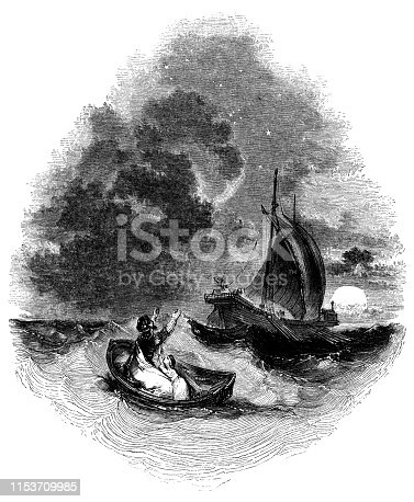 Prospero and his daughter Miranda being set adrift at sea in The Tempest from the Works of William Shakespeare. Vintage etching circa mid 19th century.