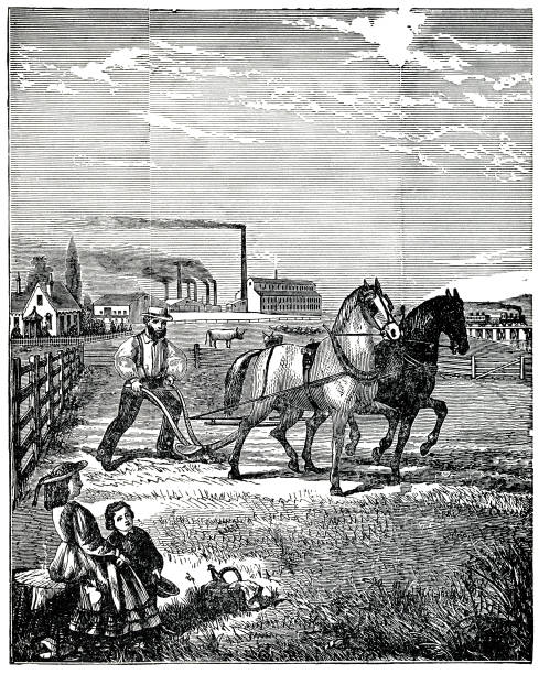 prosperous farm scene 1880 engraving vector art illustration