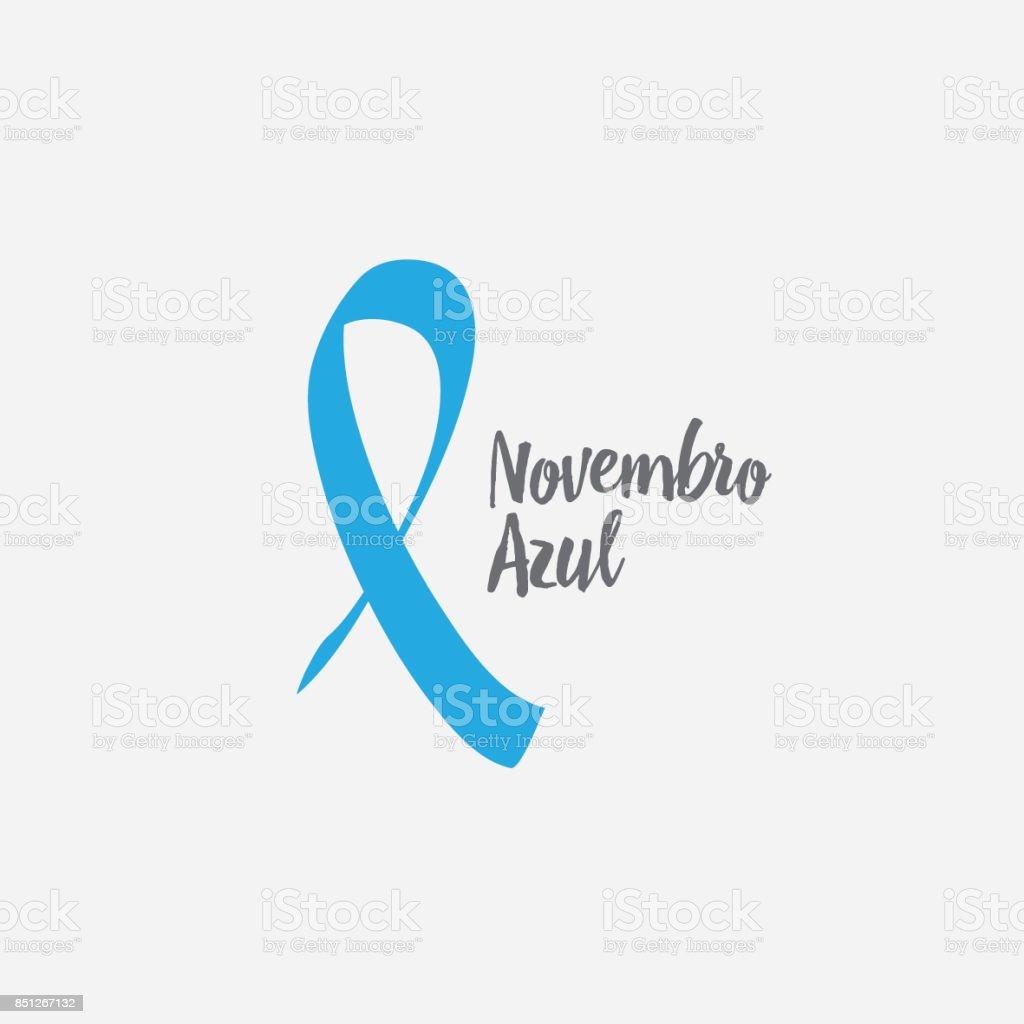 Prostate cancer awareness blue ribbon vector art illustration