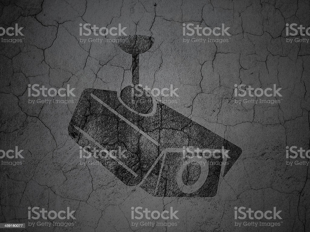 Grunge Camera Vector : Protection concept cctv camera on grunge wall background stock