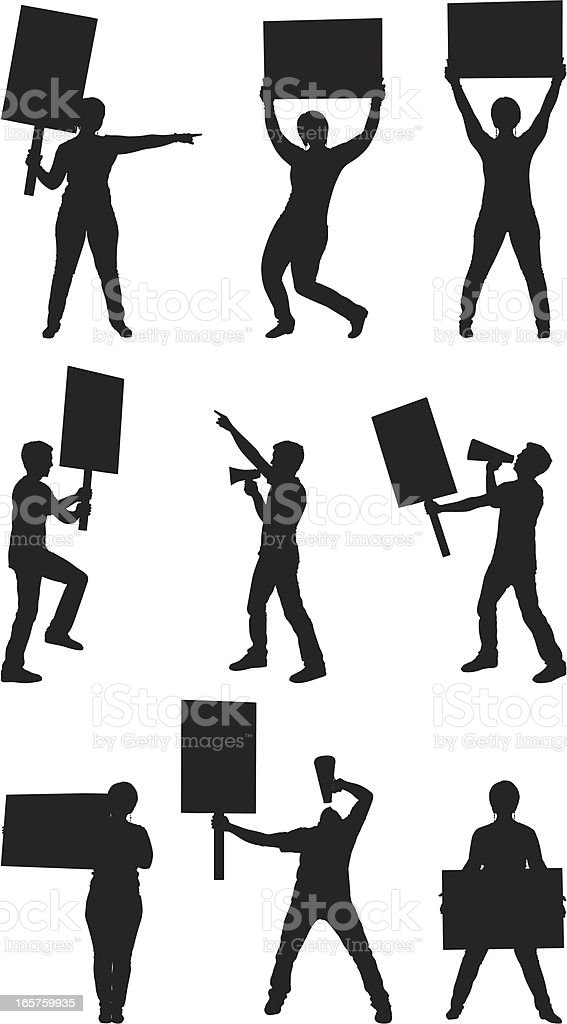 Protesters with picket signs vector art illustration