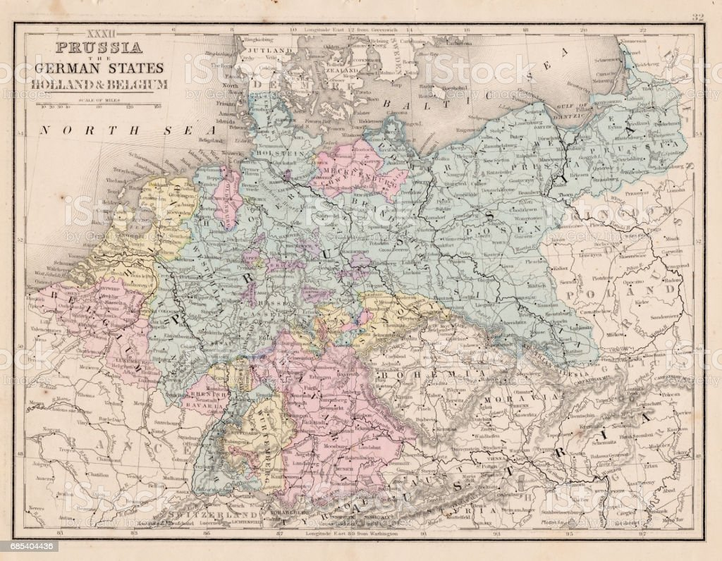 prussia and german states map 1867 royalty free stock vector art