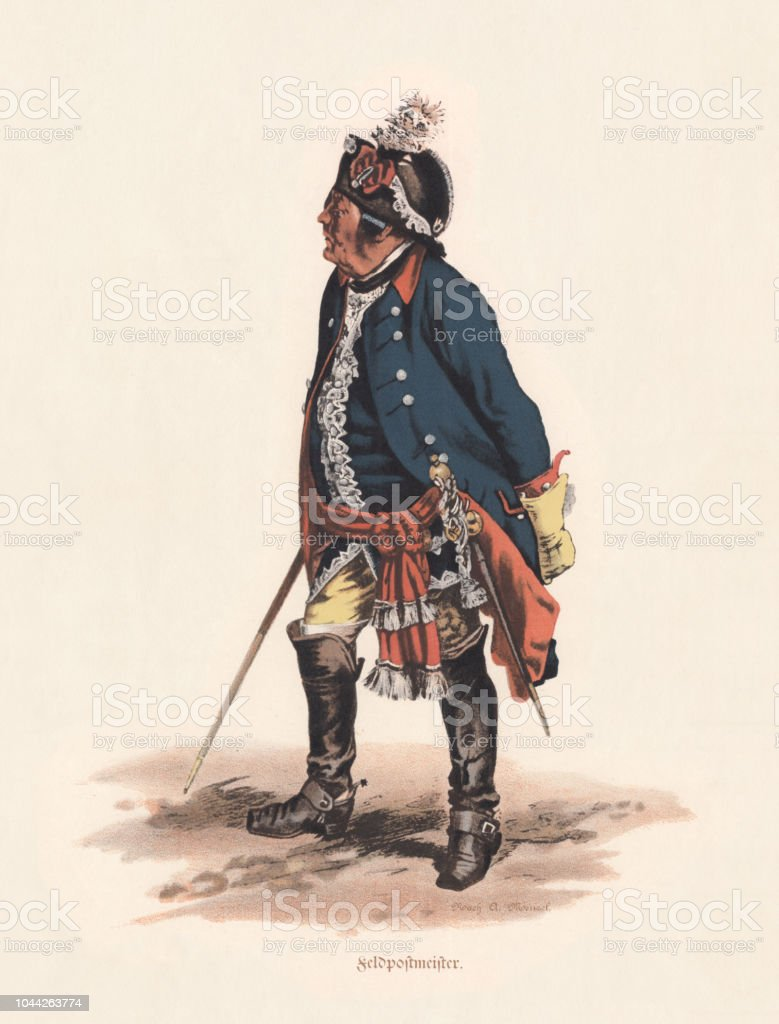 Prussian Field Postmaster Under Frederick The Great Lithograph