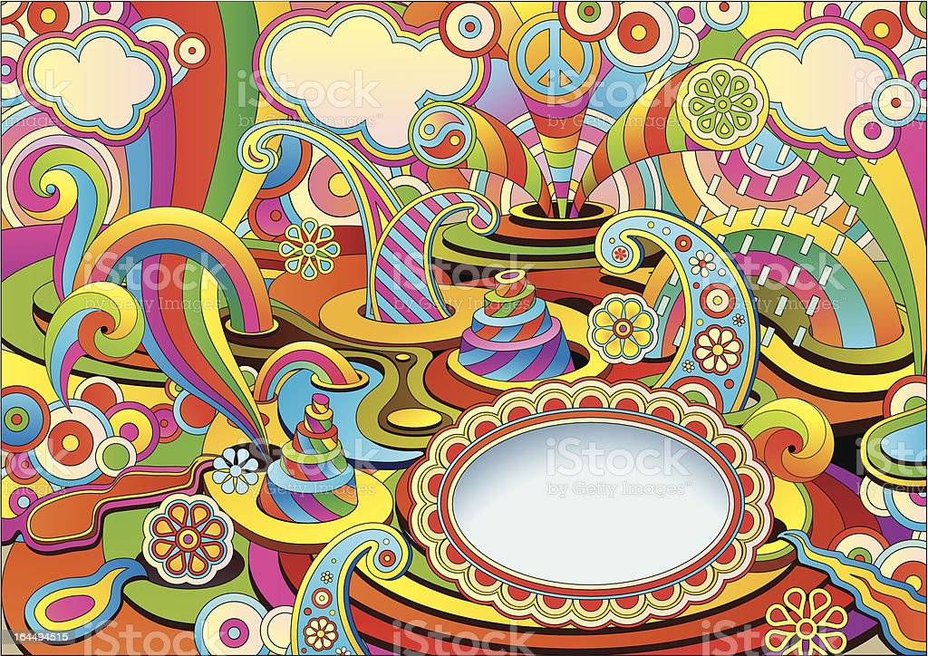 psychedelic background in a retro style royalty-free stock vector art